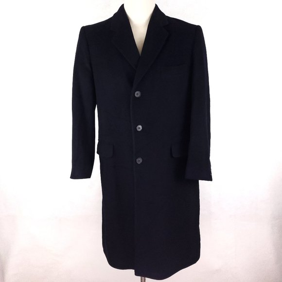 Stafford Overcoat 42R Topcoat Navy Blue Cashmere W